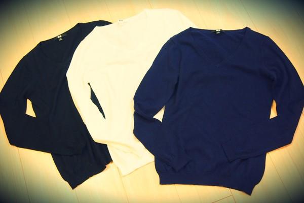ユニクロのコットンカシミヤVネックセーターが超優秀!